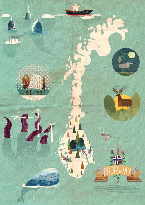 Una ilustración del mapa de Noruega