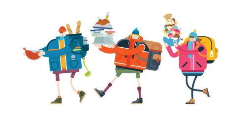 Una ilustración de picnic de senderismo