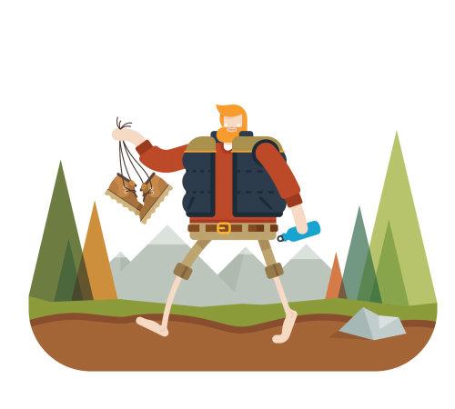 Una ilustración del hombre descalzo