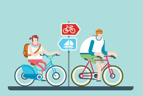 An illustration of cycling man