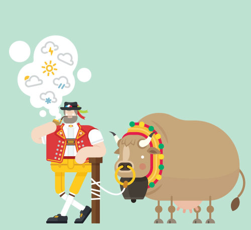 An illustration of Swiss farmer