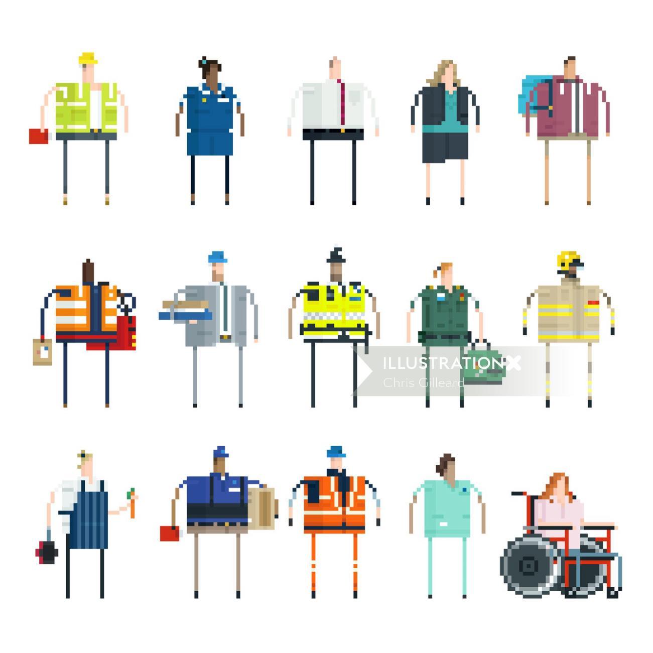vector illustration of british jobs