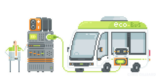 Una ilustración del autobús ecológico
