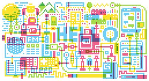 Una ilustración del editorial de montaje de píxeles