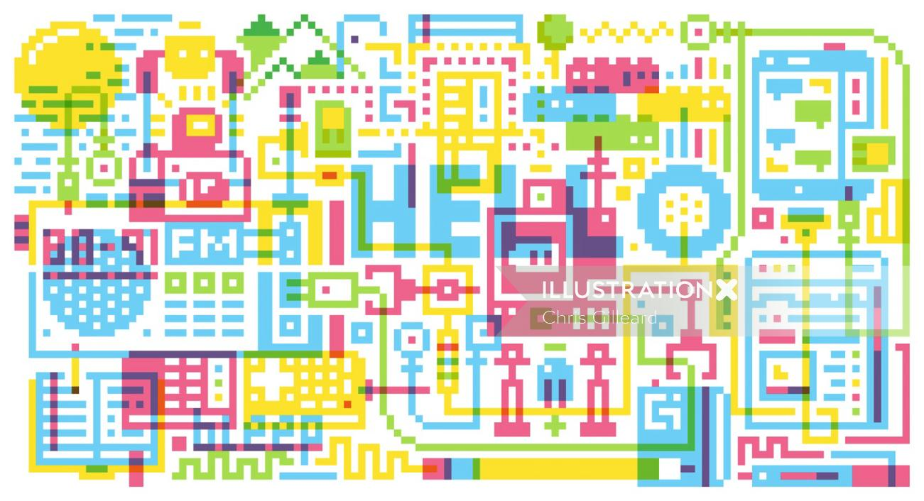An illustration of pixel montage editorial