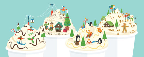 Una ilustración de tazas de café navideñas