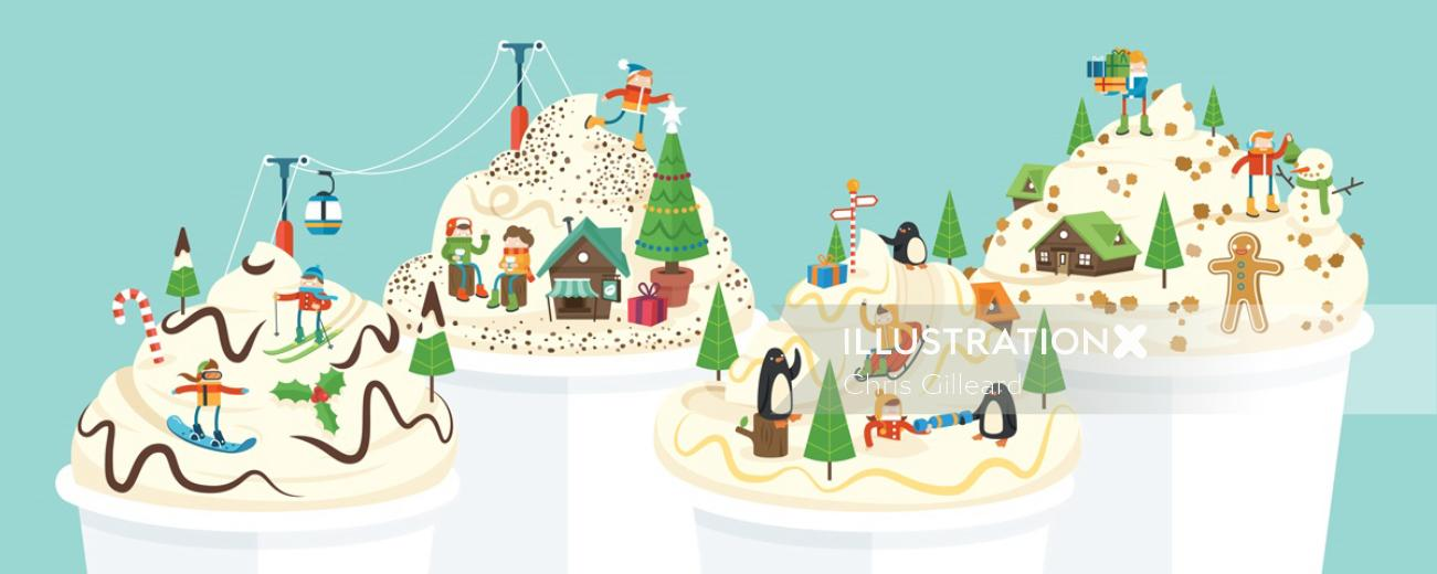 An illustration of Christmas coffee cups