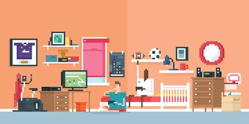 Una ilustración de dormitorio
