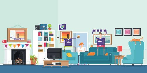 Una ilustración de la sala de estar