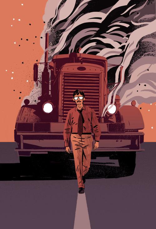 Una ilustración del hombre caminando delante de un camión humeante