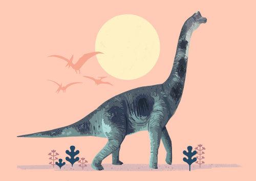 Una ilustración de estegosaurio