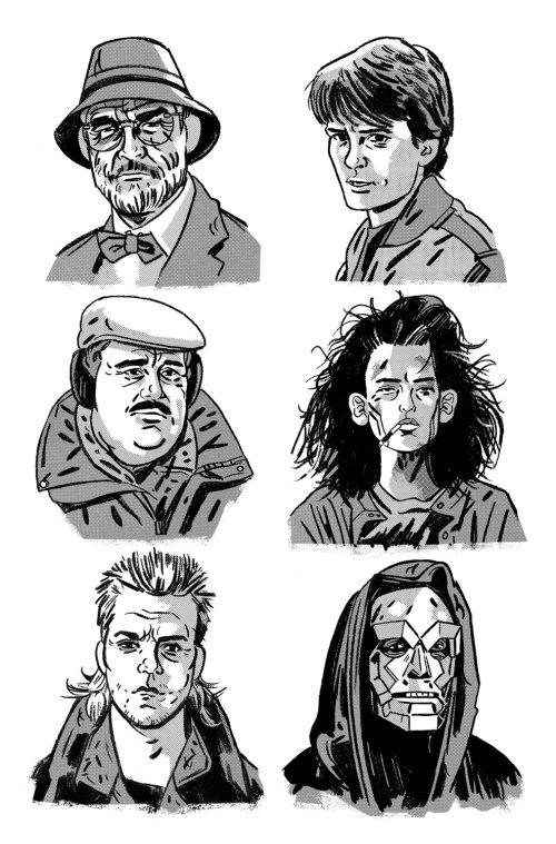 collage de retratos de héroes