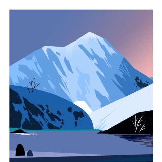 nature illustration of mountain lake