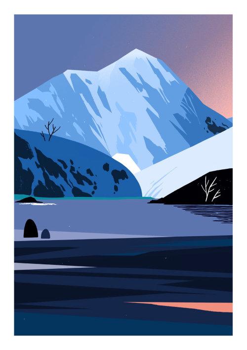 Ilustración de la naturaleza del lago de montaña
