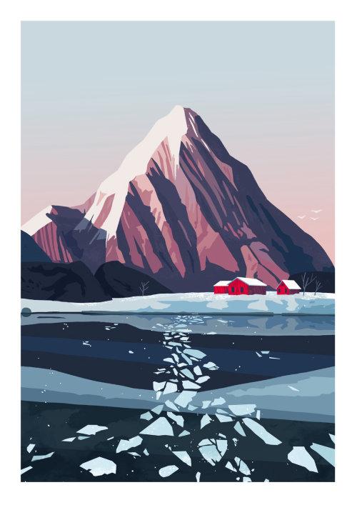 pintura del lago cerca de una montaña