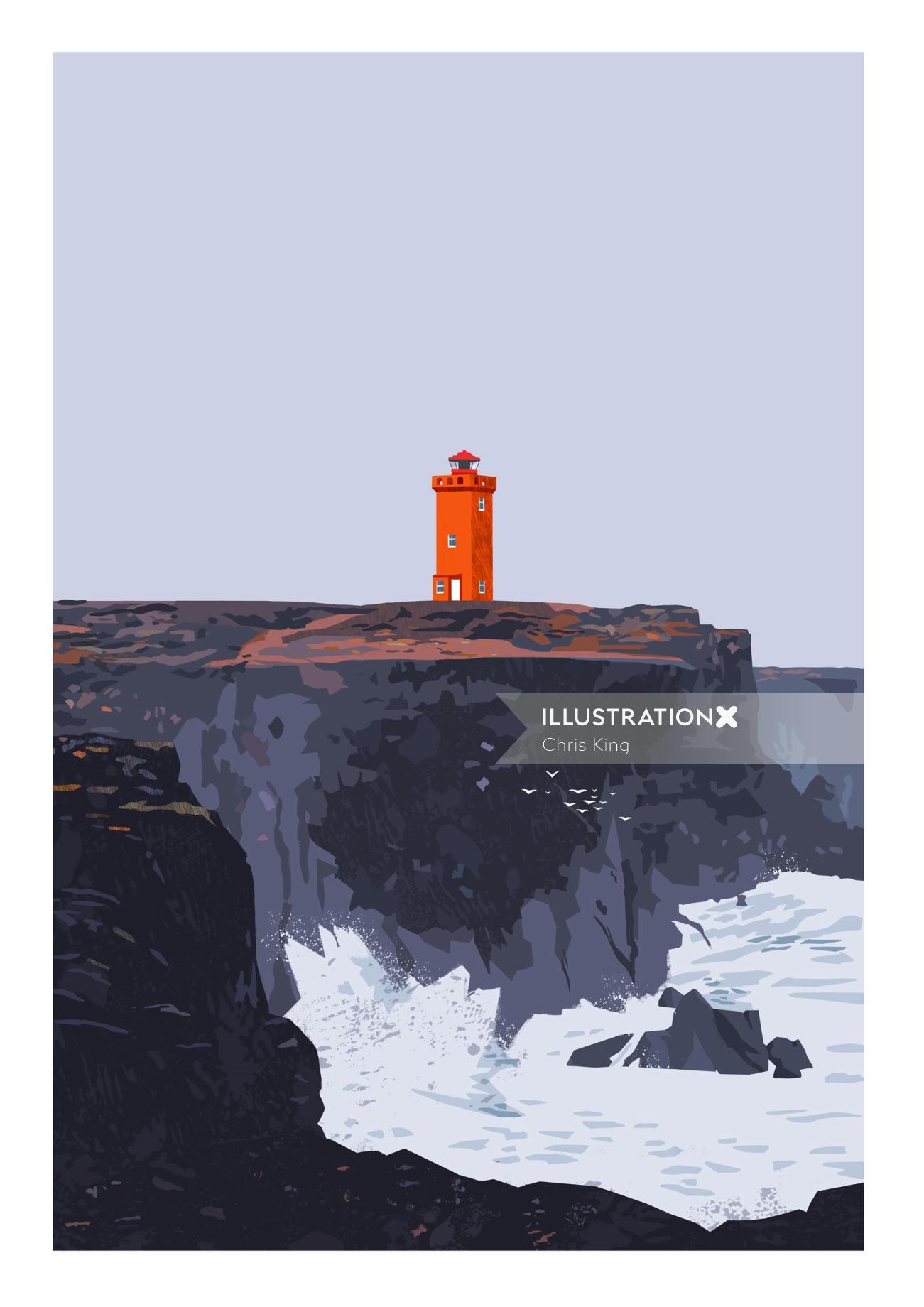 painting of svo¨rtuloft lighthouse