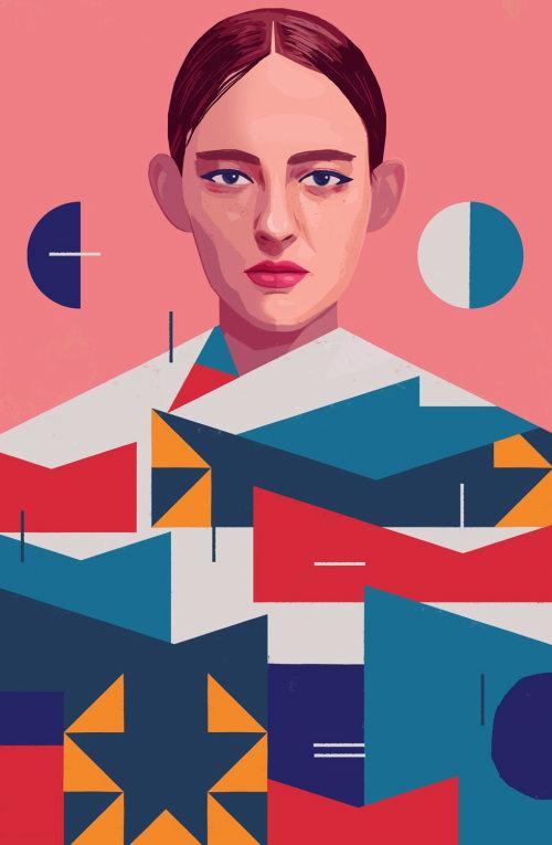Retrato de mujer con motivos gráficos