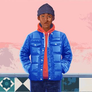 Boy in a blue jacket fashion illustration