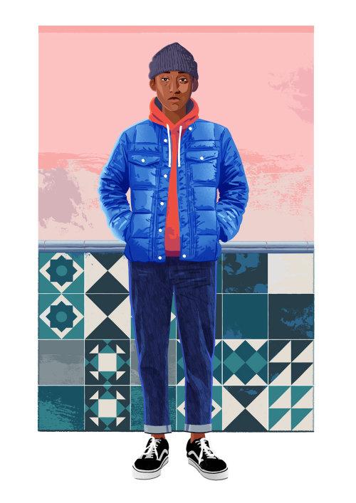 Niño en una ilustración de moda de chaqueta azul