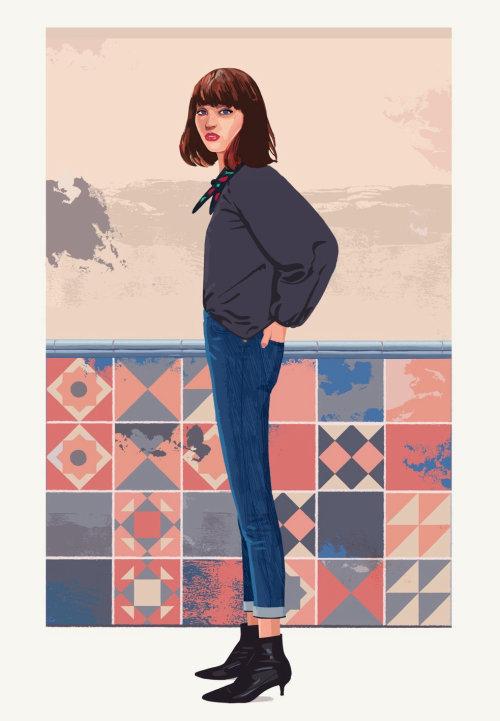 chica en ilustraciones de moda