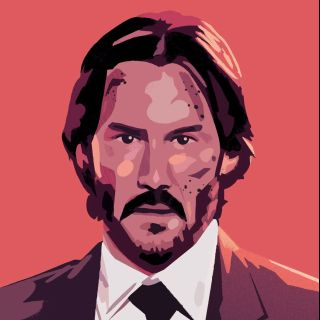 portrait of keanu reeves as john wick