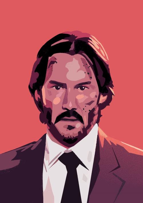 Retrato de Keanu Reeves como John Wick