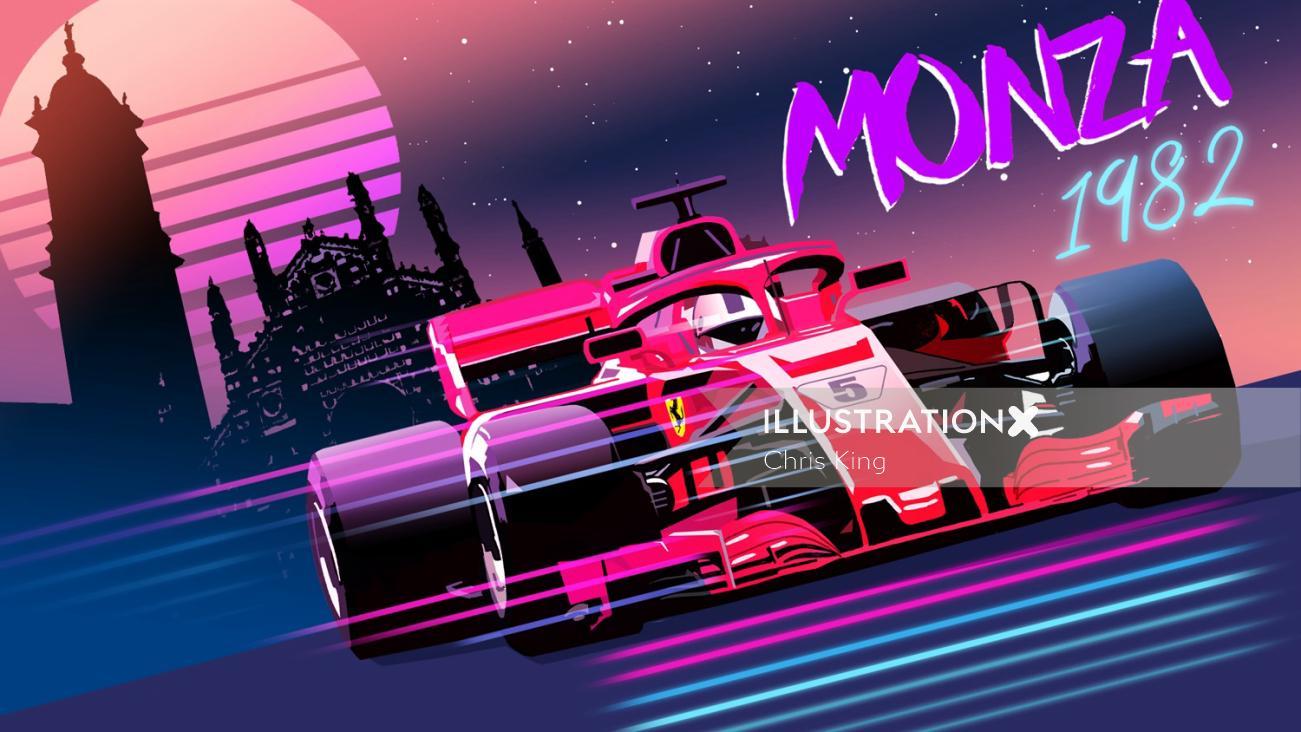f1 car speeding at monza