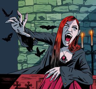 drawing of vampire girl