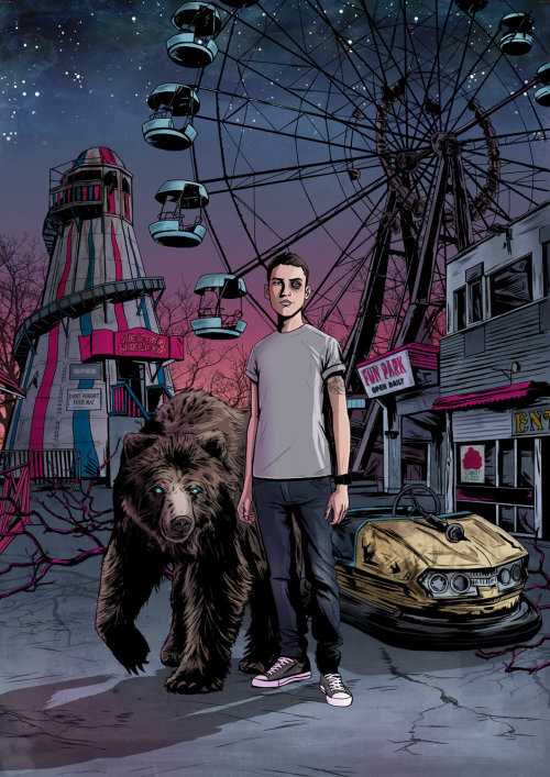 An illustration of boy with a bear at Ferris wheel