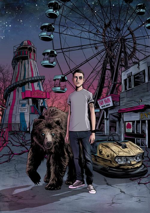 Una ilustración del niño con un oso en la noria