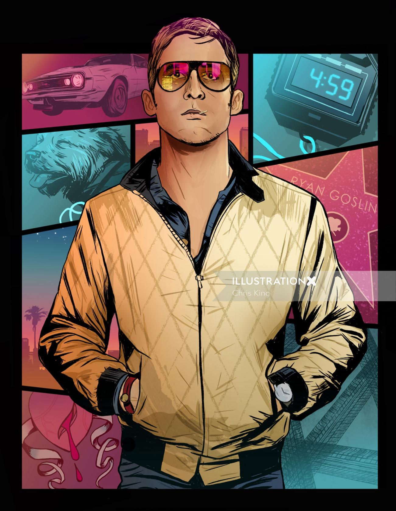 An illustration of Ryan Gosling