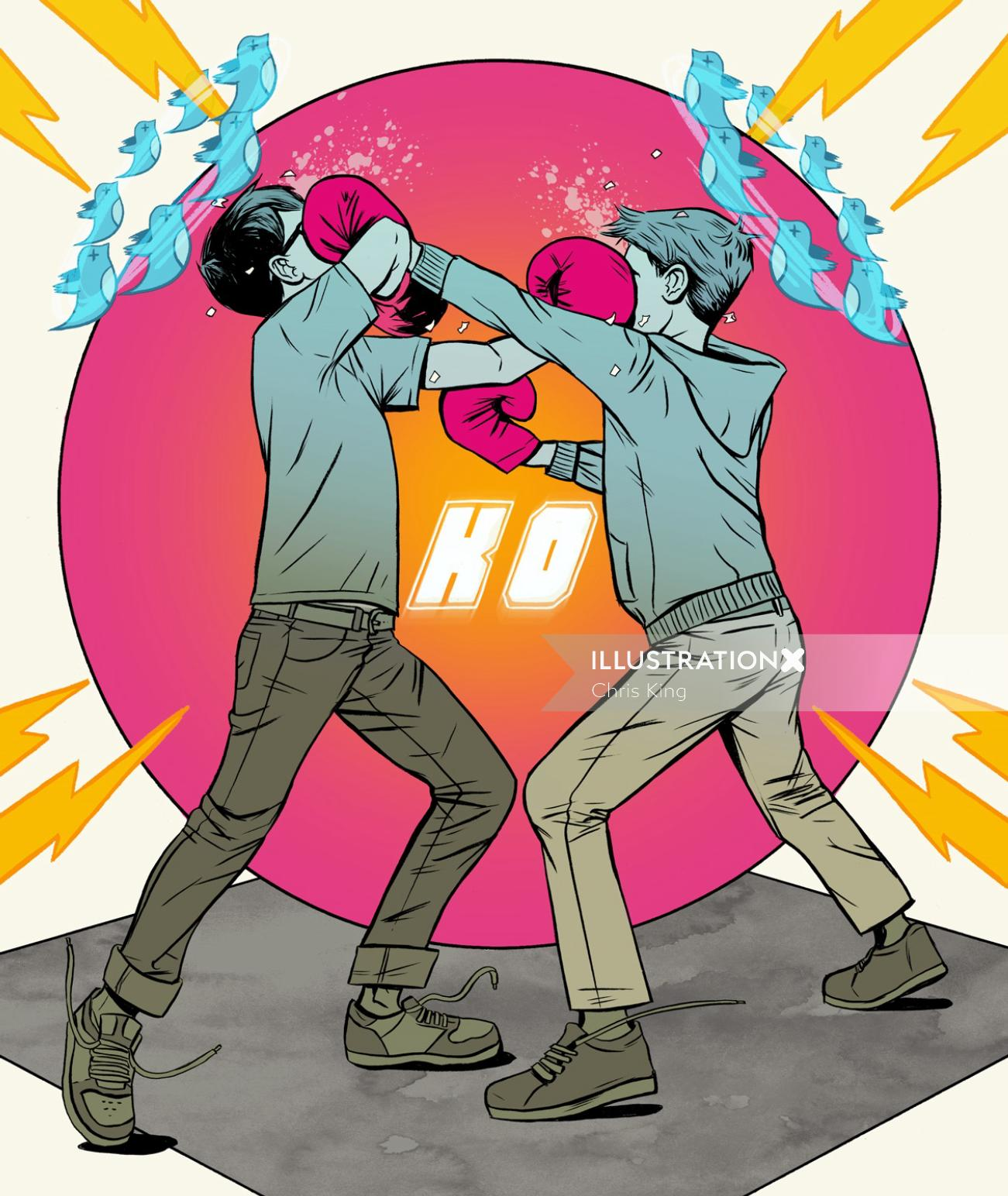 Twitter knock out fight painting