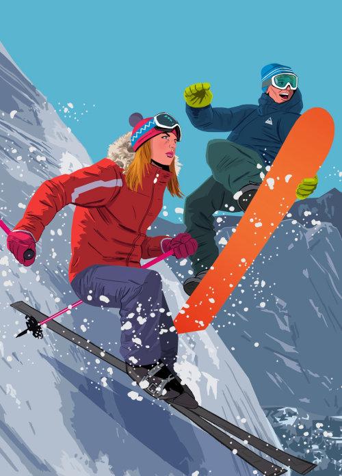 chica esquiando desde una fuerte pendiente