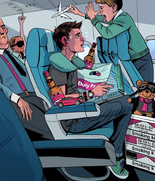 Una ilustración de personas en el avión