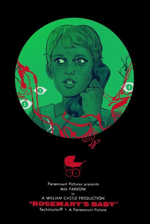 Ilustración del póster de la película Rosemary's Baby de Cris King