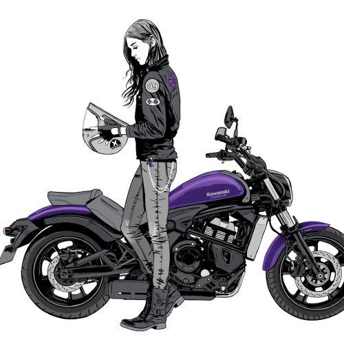 Lady bike rider illustration by Cris King