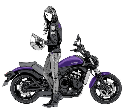 Lady bike rider illustration by Cris King