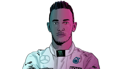 Ilustración de Lewis Hamilton por Chris King
