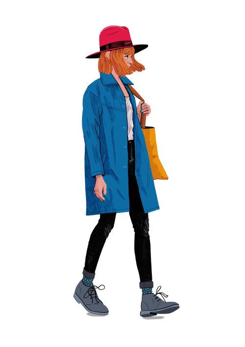 Ilustración de mujer de compras por Chris King