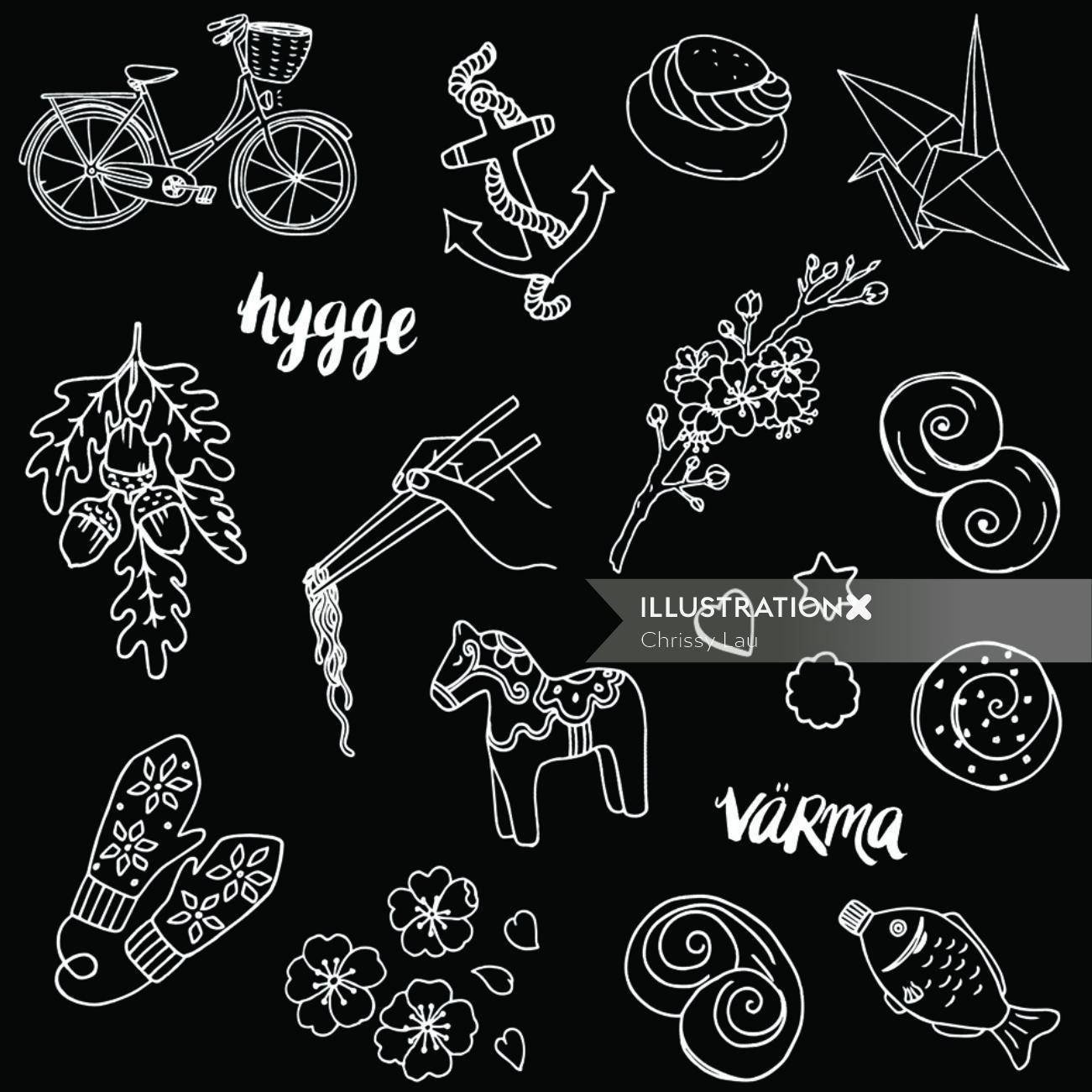 Print patterns on black background