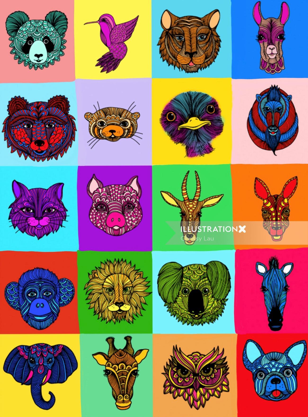 Animal icon design by Chrissy Lau