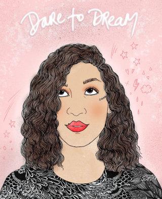 Curly hair girl portrai by Chrissy Lau