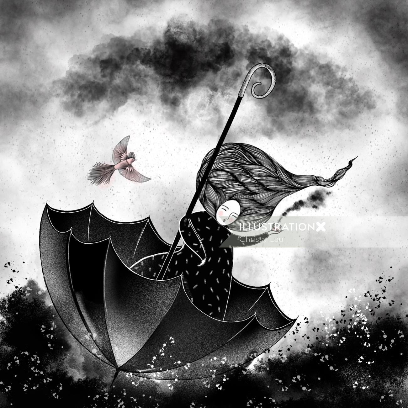 Fantasy art of flying on umbrella