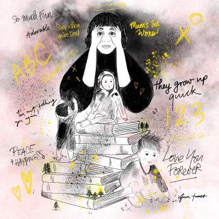 Fantasy illustration of mom imaging kid future
