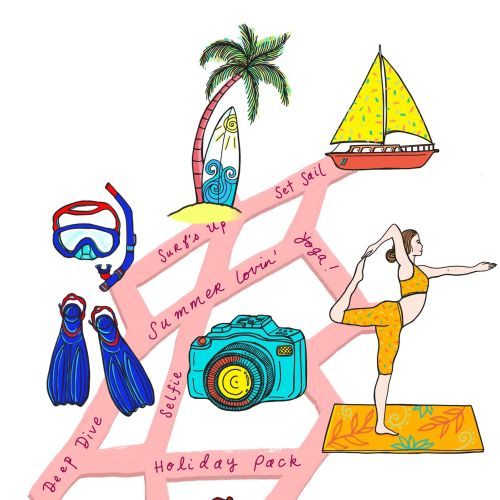 Map illustration for beach vacation