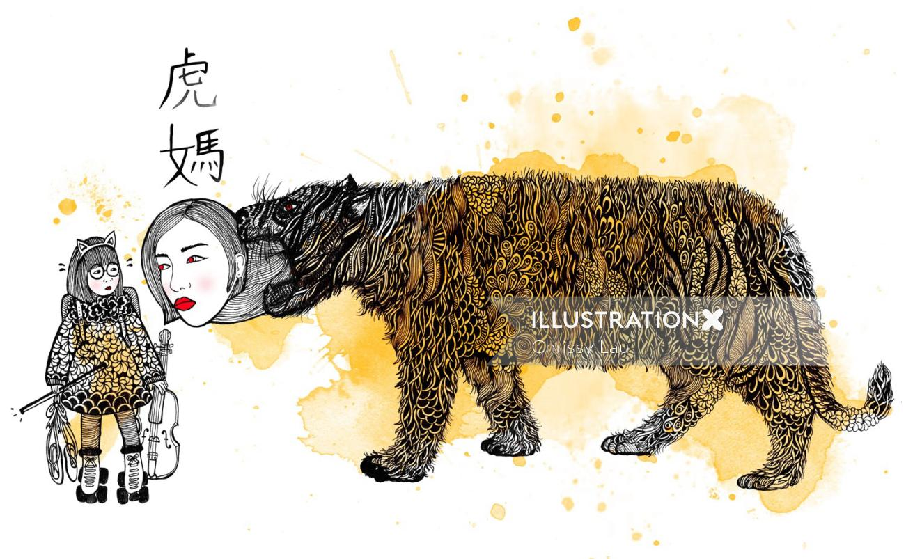 Chinese mum in tiger mouth