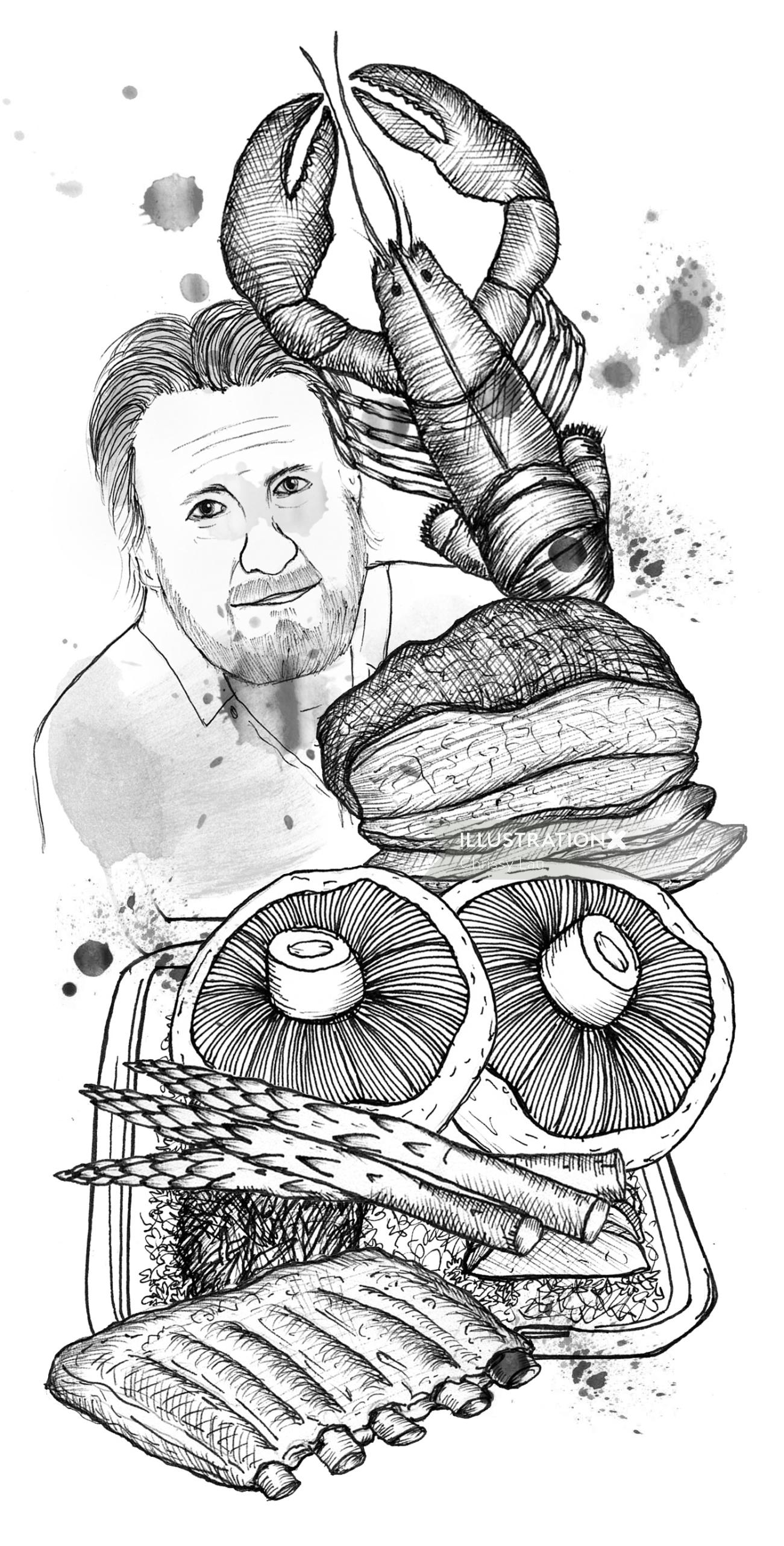 Editorial art of meat food for bbq