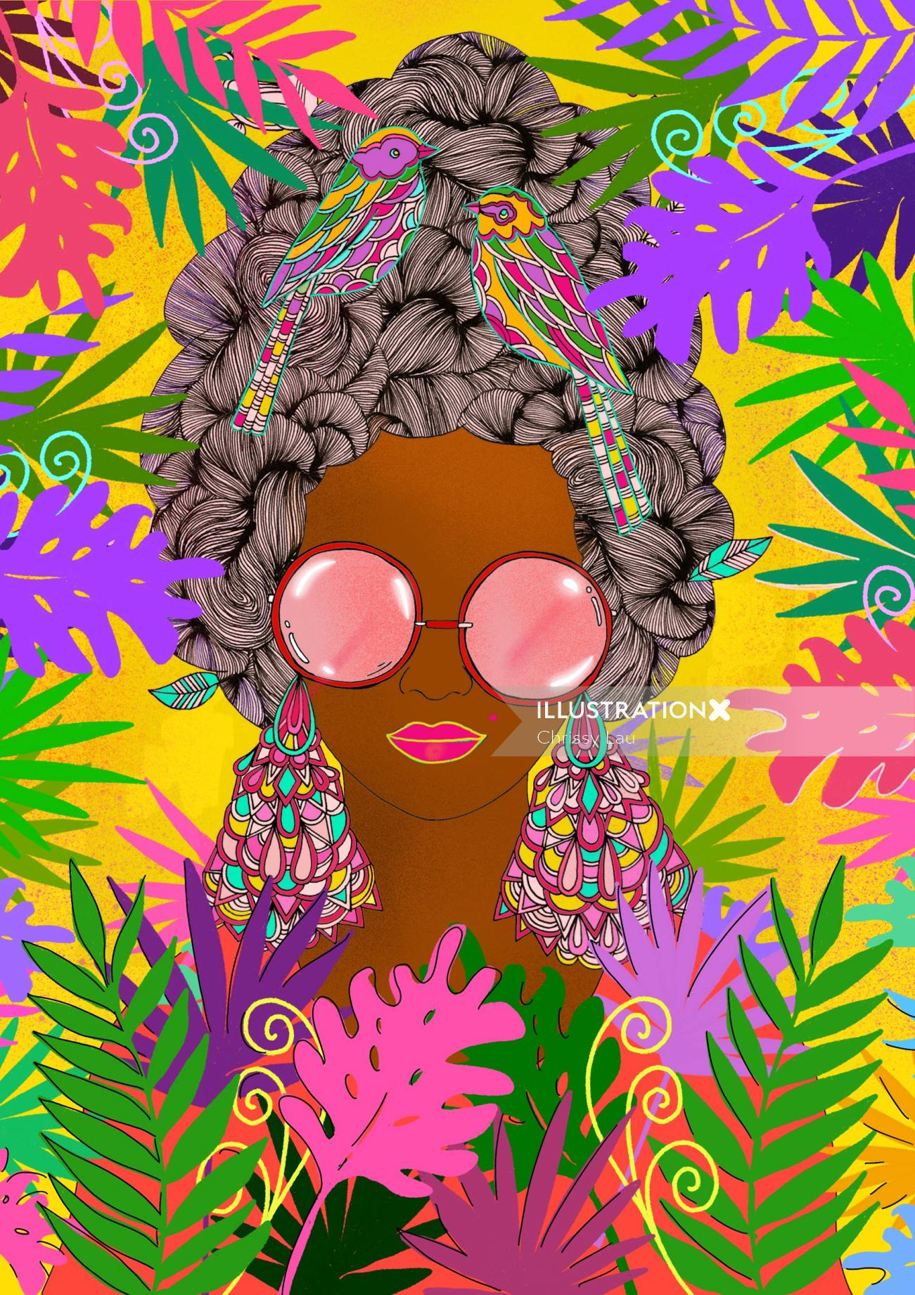 Colourful tropical lady