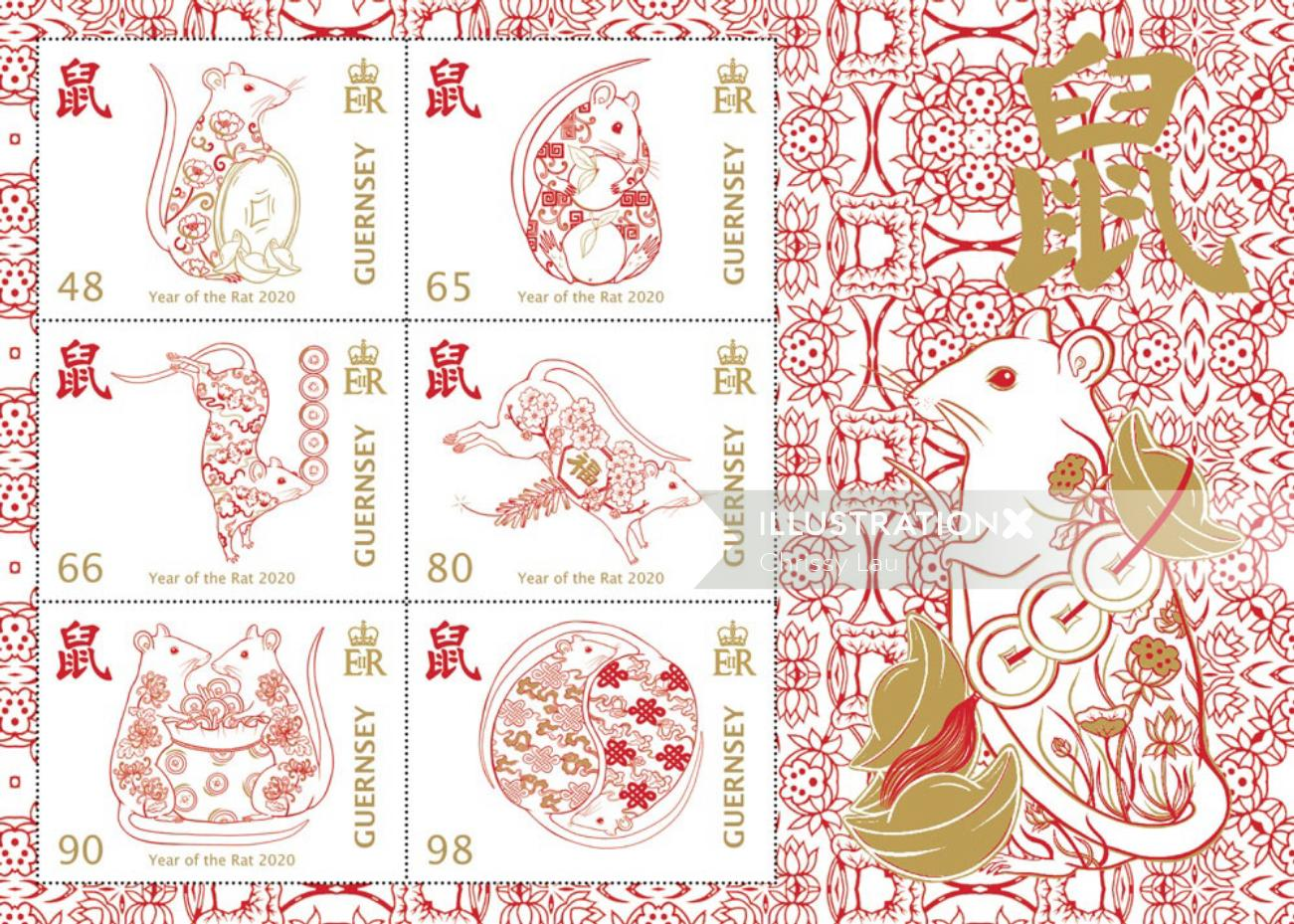 Chinese Lunar New Year stamp illustration