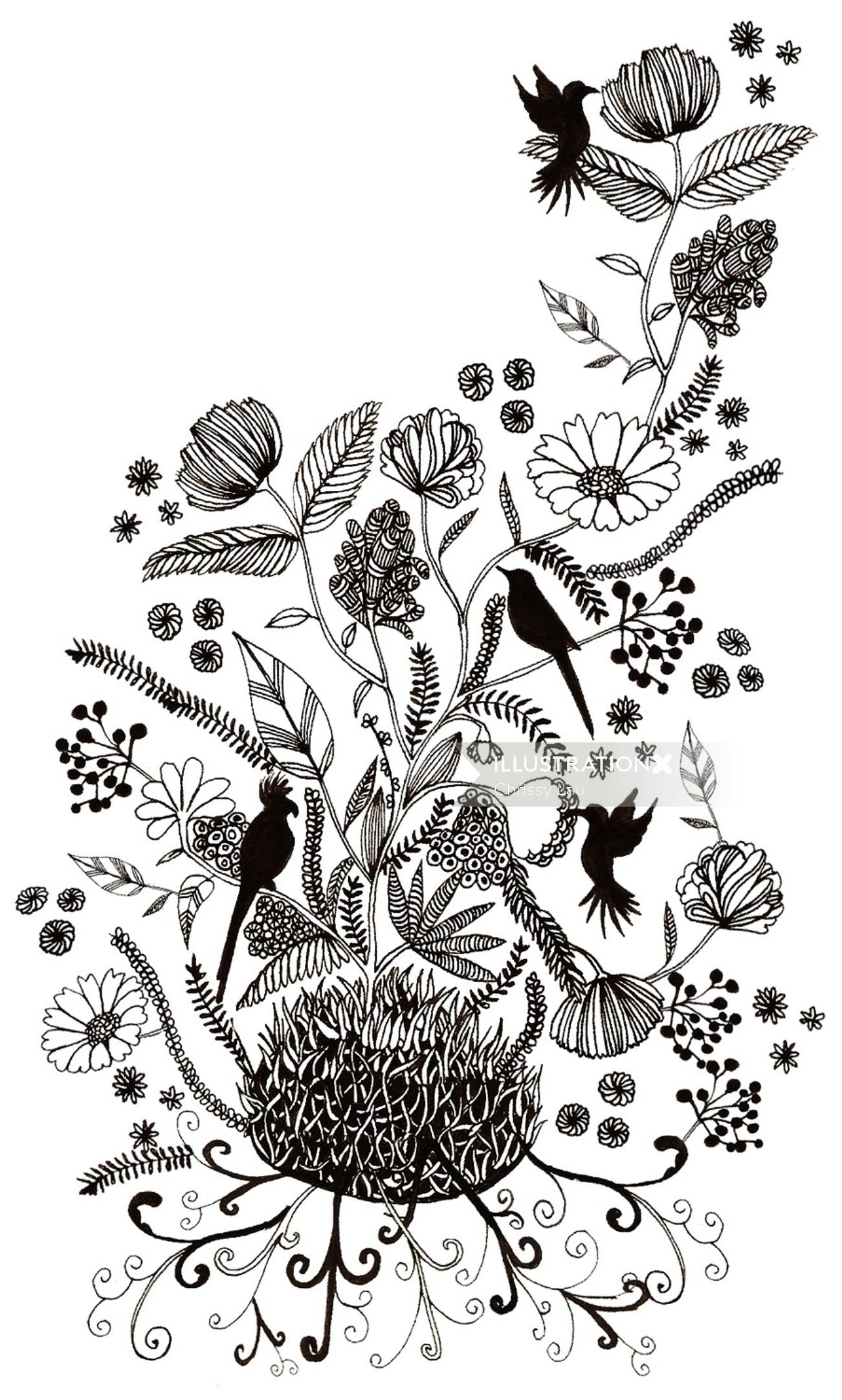 Black and white art of nature hand